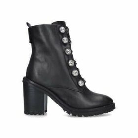 Kurt Geiger London Bax Block - Black Studded Block Heel Biker Boots