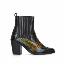 Kurt Geiger London Damen - Black Snake Detail Western Boots