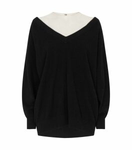 Sheer Yoke V-Neck Oversized Sweater