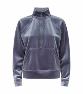 Velvet Zip-Up Sweatshirt