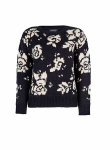 Womens Navy Floral Pattern Jumper- Blue, Blue