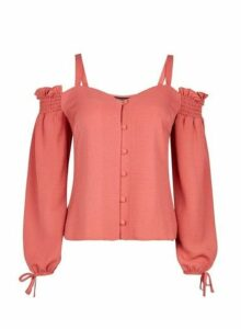Womens Pink Cold Shoulder Milkmaid Top, Pink