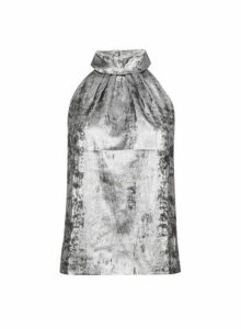 Womens Petite Silver Halterneck Top, Silver