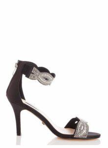 Womens *Quiz Black Satin Twist Diamante Sandals- Black, Black
