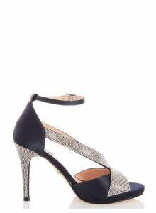 Womens *Quiz Navy Satin Diamante Strap Sandals, Navy
