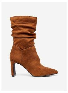 Womens Camel 'Kanzi' Ruched Heel Boots- Camel, Camel