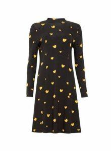 Womens Yellow Heart High Swing Dress- Black, Black