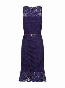 Womens Paper Dolls Navy Lace Ruched Bodycon Dress, Navy