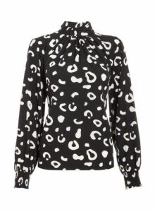 Womens *Quiz Animal Print High Neck Top- Black, Black