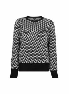 Womens Black Geometric Print Jumper- Black, Black