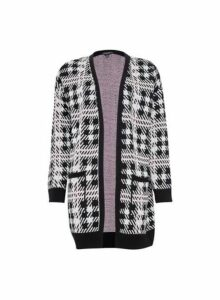 Womens Black Checked Blanket Cardigan- Black, Black