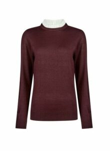 Womens Oxblood 2-In-1 Piecrust Collar Jumper- Red, Red