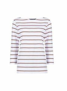 Womens Ivory Stripe Print ¾ Sleeve Cotton T-Shirt, Ivory