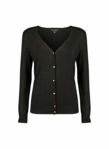 Womens Black V-Neck Gold Button Cardigan- Black, Black