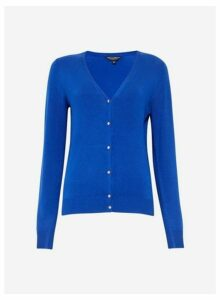 Womens Blue V-Neck Gold Button Cardigan- Cobalt, Cobalt