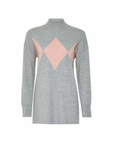 Womens Grey Argyle Longline Jumper- Grey, Grey