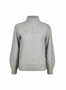 Womens Grey High Neck Cable Jumper- Grey, Grey