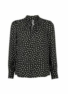 Womens Petite Black Smudge Spot Print 'Honey' Top, Black