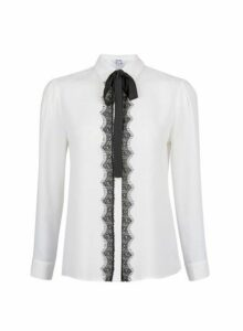 Womens Petite Ivory Romantic Tie Long Sleeve Shirt- White, White