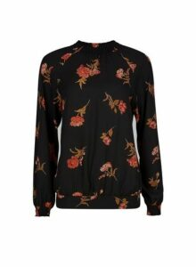 Womens Black Floral Print Shirred Hem Top- Black, Black