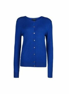 Womens Blue Crew Neck Textured Cardigan- Cobalt, Cobalt