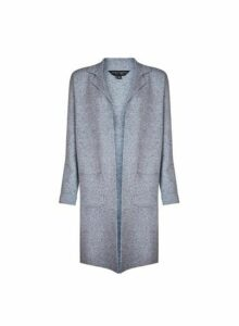 Womens Grey Knitted Coatigan- Grey, Grey