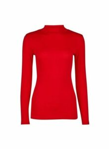 Womens Red Plain Funnel Neck Cotton T-Shirt- Red, Red