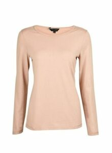Womens Blush Long Sleeve Crew Neck Cotton T-Shirt- Pink, Pink