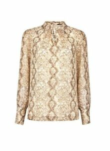 Womens Gold Snake Print Long Sleeve Top- Gold, Gold