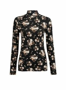 Womens Black And White Floral Print Roll Neck Top, Black