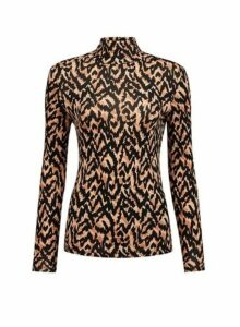 Womens Neutral Animal Print Roll Neck Top, Neutral