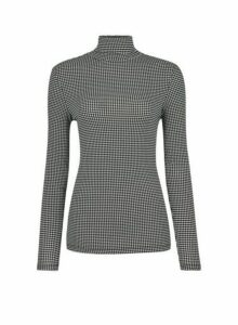 Womens Black And White Dogstooth Print Roll Neck Top, Black
