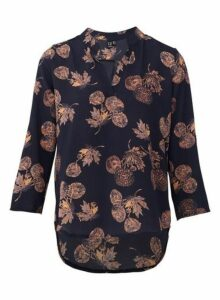 Womens **Izabel London Blue Dandelion Print Blouse, Blue