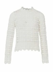 Womens *Izabel London White Sheer Crochet Blouse- White, White