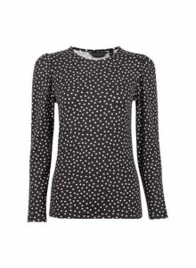 Womens Black Spot Print Puff Sleeve Top- Black, Black