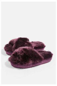 Womens Fun Fur Slipper Sliders - Plum, Plum