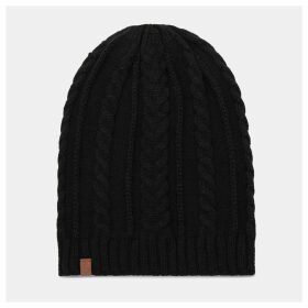 Timberland Cable Knit Slouchy Beanie For Women In Black Black, Size ONE