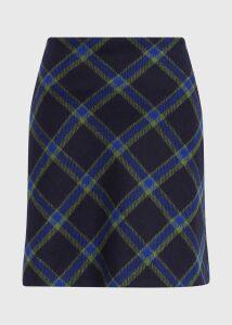 Elea Wool Skirt Navy Green