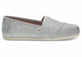 TOMS Silver Iridescent Glitter Women's Classics Slip-On Shoes - Size UK5