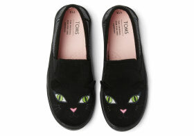 TOMS Black Cat Glow In The Dark Youth Luca Slip-Ons Shoes - Size UK11