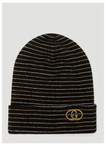 Gucci Metallic Stripe Beanie Hat in Black size M