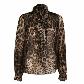 Dolce and Gabbana Leopard Bow Blouse