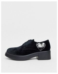 Love Moschino lace up chunky flat shoes-Black