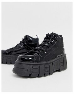 ASOS DESIGN Dagger chunky hi-top trainers in black patent