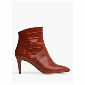 L.K.Bennett Bethan Croc Effect Leather Ankle Boots, Caramel