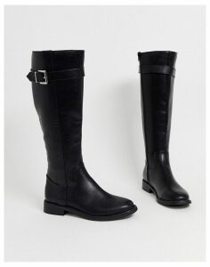 ASOS DESIGN Constance flat riding boots in black