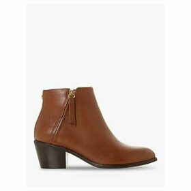 Dune Paramount Block Heel Leather Ankle Boots, Tan