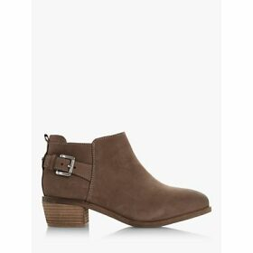 Dune Piera Wide Fit Nubuck Buckle Trim Ankle Boots