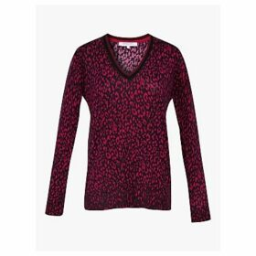 Gerard Darel Syra Animal Print Merino Wool Pullover, Red