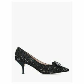 Kurt Geiger London Pia Jewel Mid Heel Court Shoes, Black
